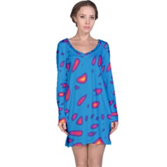 Blue and red neon Long Sleeve Nightdress