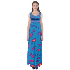 Blue and red neon Empire Waist Maxi Dress