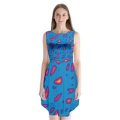 Blue and red neon Sleeveless Chiffon Dress