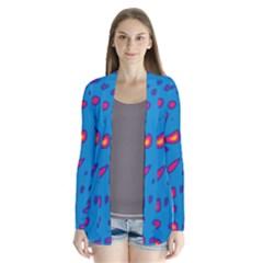 Blue And Red Neon Drape Collar Cardigan