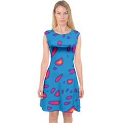 Blue And Red Neon Capsleeve Midi Dress