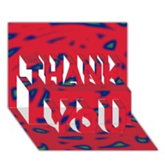 Red neon THANK YOU 3D Greeting Card (7x5)