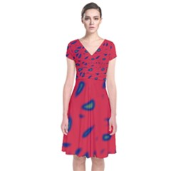 Red neon Short Sleeve Front Wrap Dress
