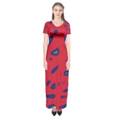 Red neon Short Sleeve Maxi Dress