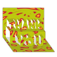 Yellow neon design THANK YOU 3D Greeting Card (7x5)