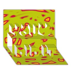 Yellow neon design You Did It 3D Greeting Card (7x5)
