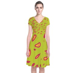Yellow Neon Design Short Sleeve Front Wrap Dress
