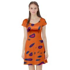 Orange neon Short Sleeve Skater Dress