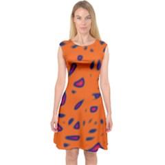 Orange neon Capsleeve Midi Dress
