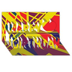 Hot abstraction Happy Birthday 3D Greeting Card (8x4)