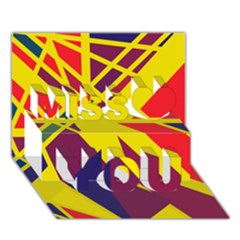 Hot abstraction Miss You 3D Greeting Card (7x5)