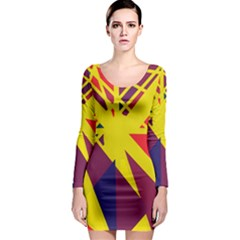 Hot abstraction Long Sleeve Bodycon Dress