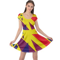 Hot abstraction Cap Sleeve Dresses