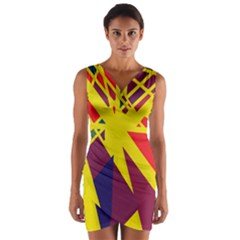 Hot Abstraction Wrap Front Bodycon Dress