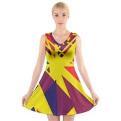 Hot abstraction V-Neck Sleeveless Skater Dress