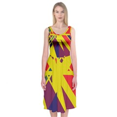 Hot abstraction Midi Sleeveless Dress
