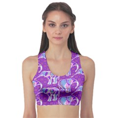 Cute Violet Elephants Pattern Sports Bra