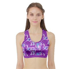 Cute Violet Elephants Pattern Sports Bra with Border