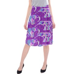 Cute Violet Elephants Pattern Midi Beach Skirt