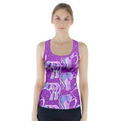 Cute Violet Elephants Pattern Racer Back Sports Top