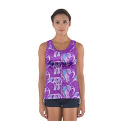 Cute Violet Elephants Pattern Women s Sport Tank Top