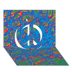 Colorful neon chaos Peace Sign 3D Greeting Card (7x5)