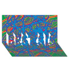 Colorful neon chaos BEST SIS 3D Greeting Card (8x4)