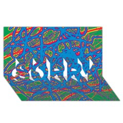 Colorful neon chaos SORRY 3D Greeting Card (8x4)