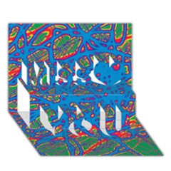 Colorful neon chaos Miss You 3D Greeting Card (7x5)