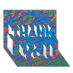 Colorful neon chaos THANK YOU 3D Greeting Card (7x5)
