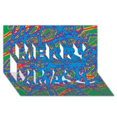 Colorful neon chaos Merry Xmas 3D Greeting Card (8x4)