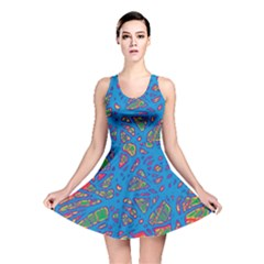 Colorful neon chaos Reversible Skater Dress