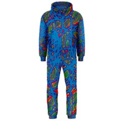 Colorful neon chaos Hooded Jumpsuit (Men)