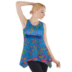 Colorful Neon Chaos Side Drop Tank Tunic