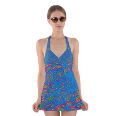 Colorful Neon Chaos Halter Swimsuit Dress
