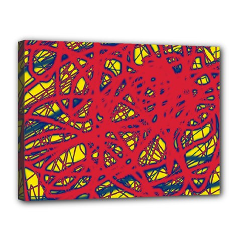 Yellow and red neon design Canvas 16  x 12