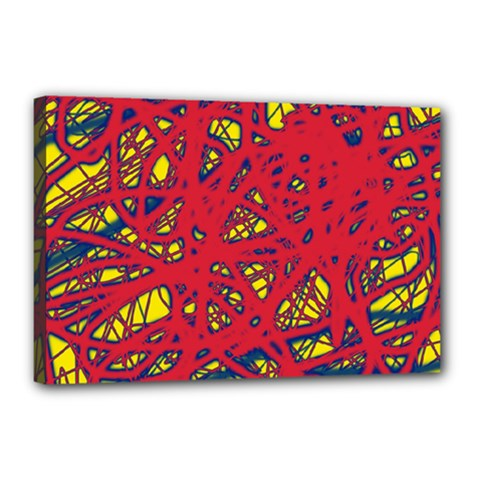 Yellow and red neon design Canvas 18  x 12