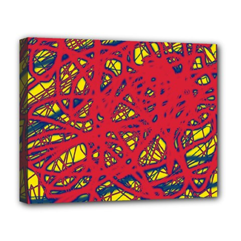 Yellow and red neon design Deluxe Canvas 20  x 16