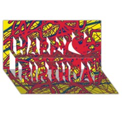 Yellow and red neon design Happy Birthday 3D Greeting Card (8x4)