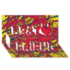 Yellow and red neon design Best Friends 3D Greeting Card (8x4)