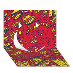 Yellow and red neon design Heart 3D Greeting Card (7x5)