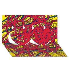 Yellow and red neon design Twin Hearts 3D Greeting Card (8x4)