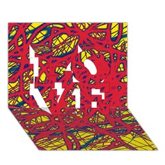 Yellow and red neon design LOVE 3D Greeting Card (7x5)