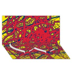 Yellow and red neon design Twin Heart Bottom 3D Greeting Card (8x4)