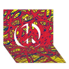 Yellow and red neon design Peace Sign 3D Greeting Card (7x5)