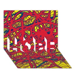 Yellow and red neon design HOPE 3D Greeting Card (7x5)