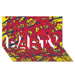 Yellow and red neon design PARTY 3D Greeting Card (8x4)