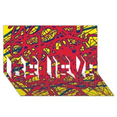 Yellow and red neon design BELIEVE 3D Greeting Card (8x4)