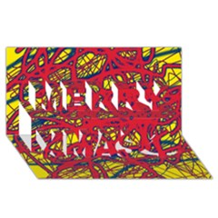 Yellow and red neon design Merry Xmas 3D Greeting Card (8x4)