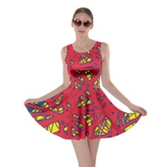 Yellow and red neon design Skater Dress